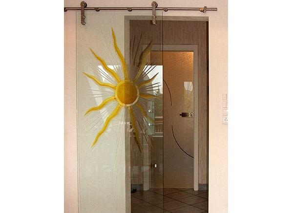 Glasschiebetür – Motiv Sonne