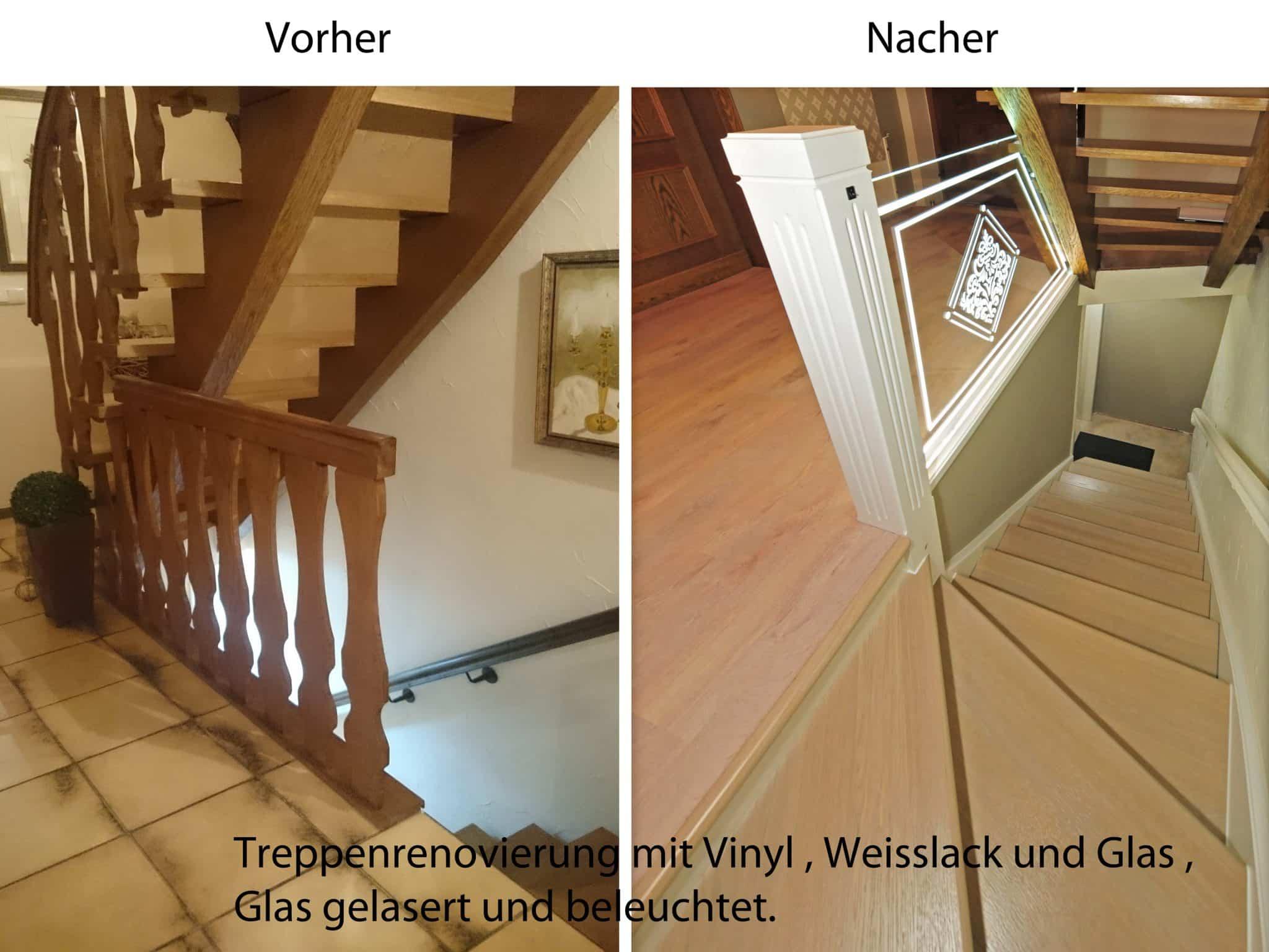 Treppe vorher / nachher